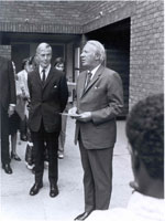 Alex Moira and Edward Heath opening Moira Close, Habinteg's first housing scheme