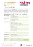 Image showing the first page of the Habinteg budget planner for tenants, including some text and a form to record weekly or monthly income
