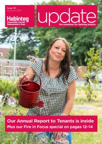 Image showing the front cover of Autumn 2017 Update, a woman stands outside holding a watering can, watering flowers.